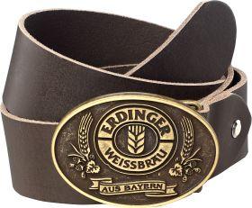 Gürtel Leder braun mit Erdinger Logo